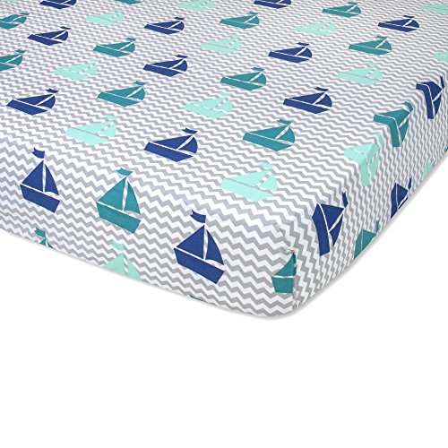 WENDY BELLISSIMO Sailboat Fitted Crib Sheet (Grey/Green)