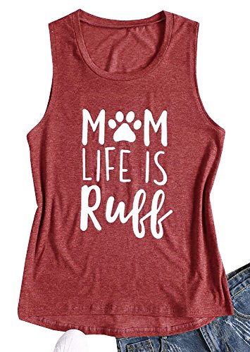 Nulibenna Womens Mom Life is Ruff Tank Tops Funny Dog Paw Crew Neck Sleeveless T (Paw Print Neck)