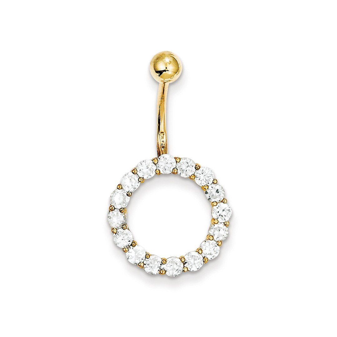 10k Yellow Gold Cubic Zirconia Cz Circle Of Life//tops Down Belly Button Rings Screw Navel Bars Body Piercing Naval Fine Jewelry Gifts For Women For Her