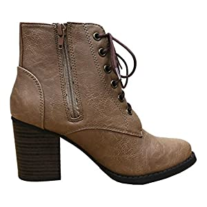 Cambridge Select Women's Zipper Lace Up Chunky Heel Ankle Bootie (8 B(M) US, Taupe PU)