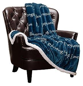 Chanasya Hope and Faith Inspirational Message Print Super Soft Ultra Plush Cozy Fleece Microfiber Sherpa Posivite Energy Comfort Caring Uplifting Gift Throw Blanket - for Women Men - Blanket by PurchaseCorner