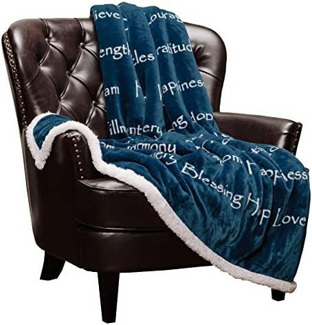 Chanasya Hope Faith Love Joy Inspiring Message Gift Throw Blanket - Perfect Caring Uplifting Thoughtful Personalized Gift for Blessing Prayer for Male Female Best Friend Sherpa Blue Throw Blanket
