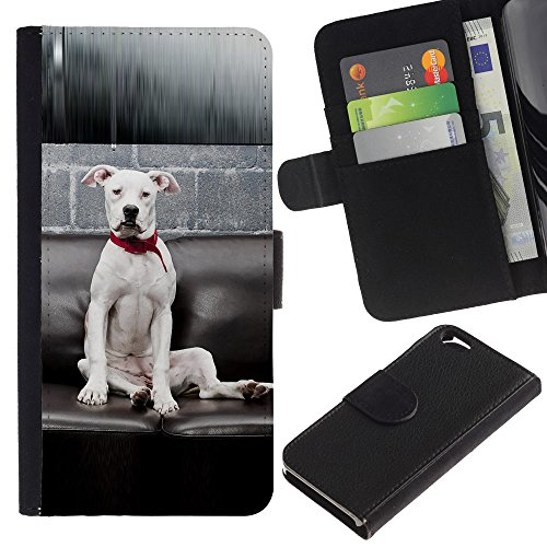 EuroCase - Apple Iphone 6 4.7 - white American pit bull terrier dog breed - Cuir PU Coverture Shell Armure Coque Coq Cas Etui Housse Case Cover