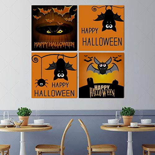 Wall Art Painting Picture Halloween Orange Scary Eye Flying Bat Modern Hanging Photo Canvas Prints 4 pcs per Set with Wooden Frames for Bedroom Living Room Office Home Decor 16x16 Inch -