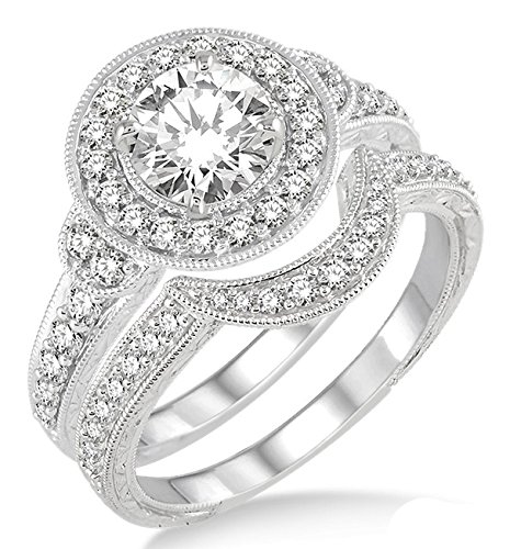 2.00 Carat Antique Halo Bridal Set Engagement Ring with Round Cut Diamond in 10k white Gold ()