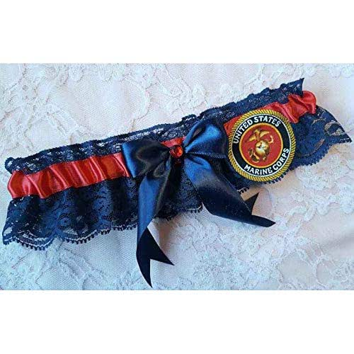 Amazon.com: Handcrafted Red & Navy Blue Wedding Garter Or