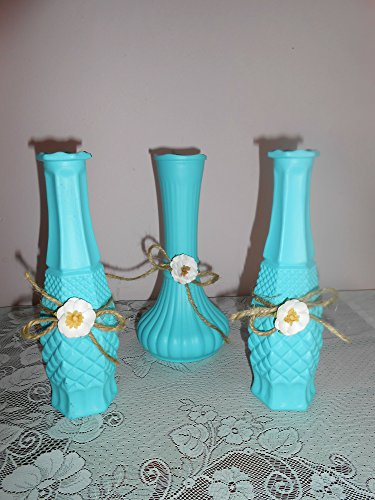 Three Flower Vases, Aqua, Turqouise, Glass Bud Vases, Centerpieces, Shabby Chic, Weddings, Tabletops, Hand Painted, Jute, Flowers, Pressed Glass (Glass Bud Pressed Vase)
