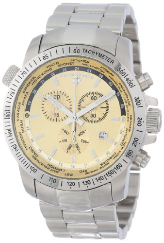 Swiss Legend Men's 10013-10 World Timer Collection Chronograph Stainless Steel (World Timer Stainless Steel Chronograph)