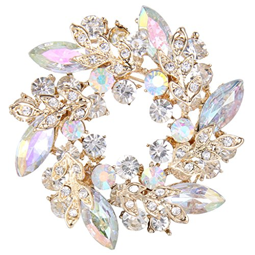 Wreath Brooch (EVER FAITH Gold-Tone Austrian Crystal Wedding Flower Wreath Brooch Pin Iridescent Clear AB)