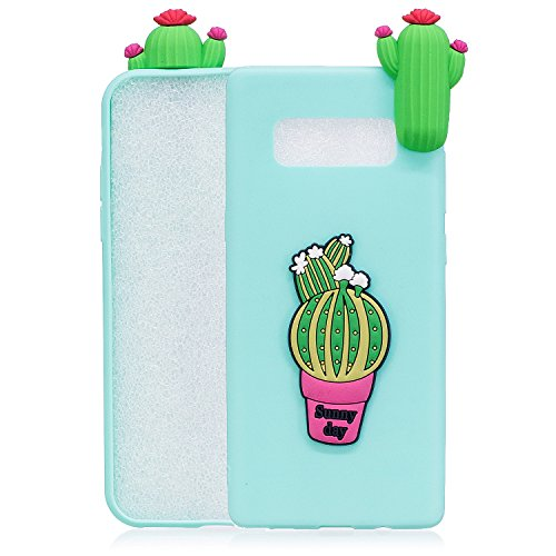 Galaxy Note 8 Phone Case,Samsung Galaxy Note 8 Case,Gostyle Creative Design Soft Slicone Rubber Grip [3D Cactus] Pattern [Shock Absorbing][Snap-On] Back Protective Cover.