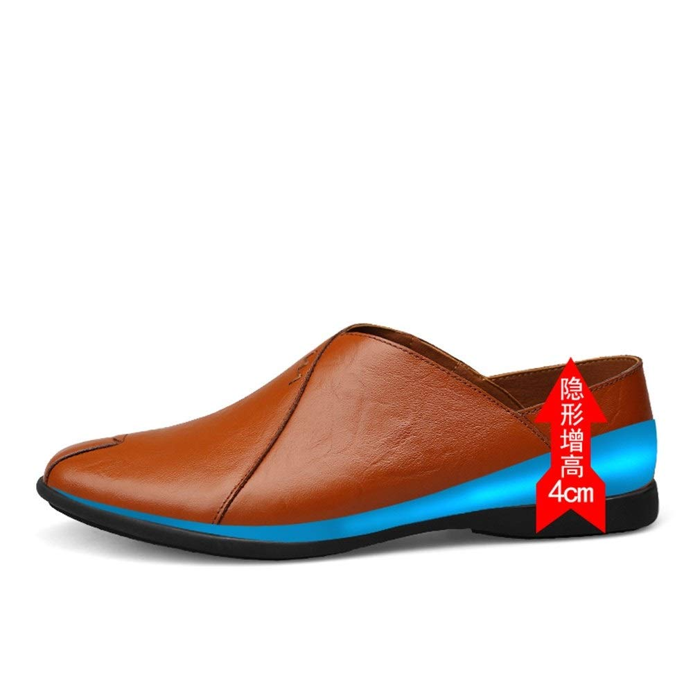 Height Increasing Reddish SHENNANJI for Men Driving Loafer Boat Moccasins Slip On Style OX Leather Comfortable Low Top(Height Increasing Insole Optional)
