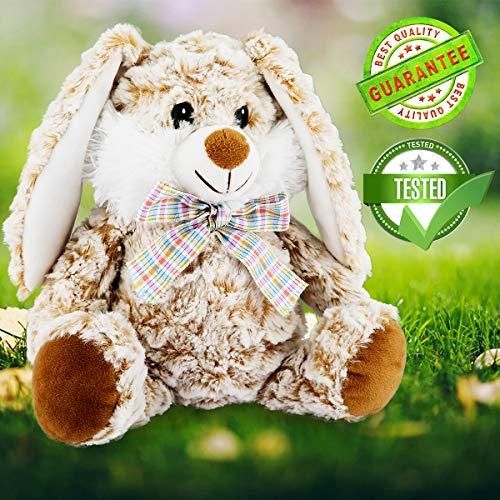 (JUJIAN Plush Stuffed Animals Toy Rabbit Bunny Stuffed Animal 10'' Soft and Cuddly Lop Bunny Plush Toy (Caramel))