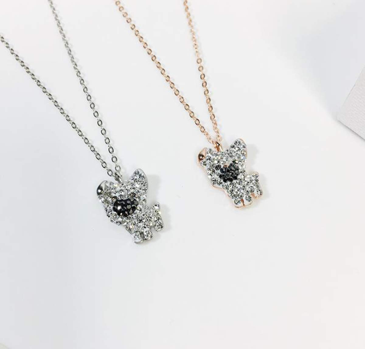 White gold Onlyfo Abstract 925 Silver Dog Pave Crystal Pendant Necklace with Jewelry Box,Short Dog Necklace for Women (White gold)