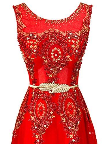 Erosebridal Lange kleider Rot abschlussball Partei Stickerei Abendkleid Spitze Urqn6FU