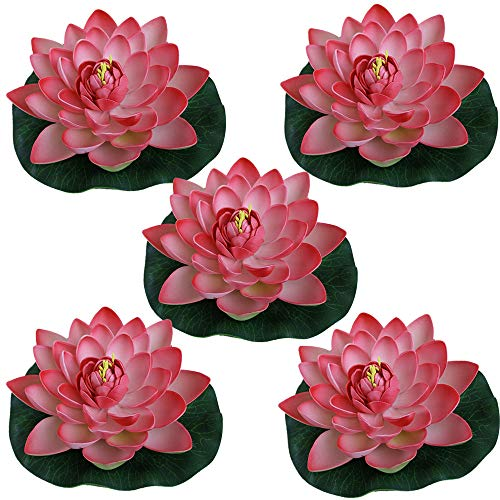 Just Artifacts 5pc Foam Lotus Floating Water Flower Candle-Free (Color: Light Pink)