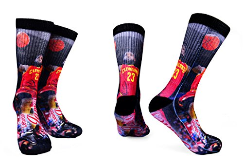 Forever Fanatics Cleveland Lebron James #23 Basketball Crew Socks ✓ Lebron James Autographed ✓ One Size Fits All Sizes 6-13 ✓ Ultimate Basketball Fan Gift