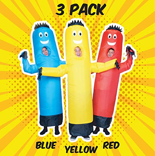 3 Guys Halloween Costumes (LookOurWay 3 Pack of Air Dancers Inflatable Tube Man Costumes (Red, Yellow,)