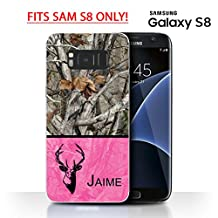 SAM S8 - S6 ACTIVE - Camo Oak Trees Pink Color Deer Head Monogram Name Samsung GALAXY S8 (SM-G950) Rubber TPU Silicone Phone Case