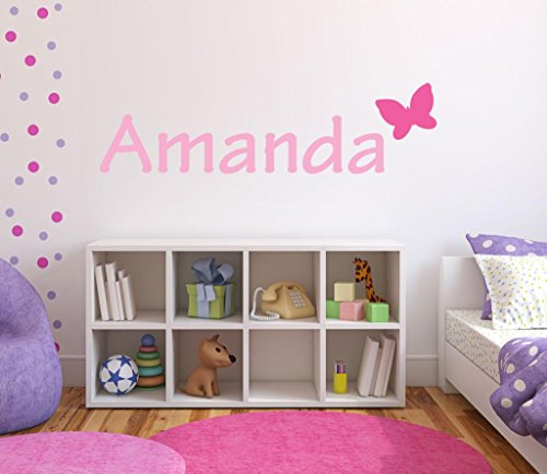 "Nursery Butterfly Custom Name Wall Decal Sticker, 36"" W Girls Wall Decal, Girls Name, Wall Decor, Personalized, Girls Decor, Girls Nursery, Girls Bedroom, PLUS FREE WHITE HELLO DOOR DECAL"