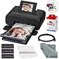 Canon SELPHY CP1200 Wireless Color Compact Photo Printer Bundle with Canon KP-108IN Color Ink and Paper Set & Cable + FiberTique Cleaning Cloth