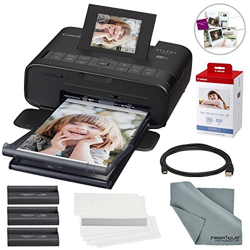 Canon SELPHY CP1200 Wireless Color Compact Photo Printer Bundle with Canon KP-108IN Color Ink and Paper Set & Cable + FiberTique Cleaning Cloth by Photo Savings