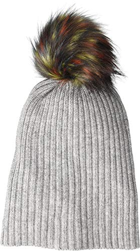 (Hat Attack Women's Lightweight Rib Watch Cap with Multi Faux Pom Heather Grey/Multi One Size)