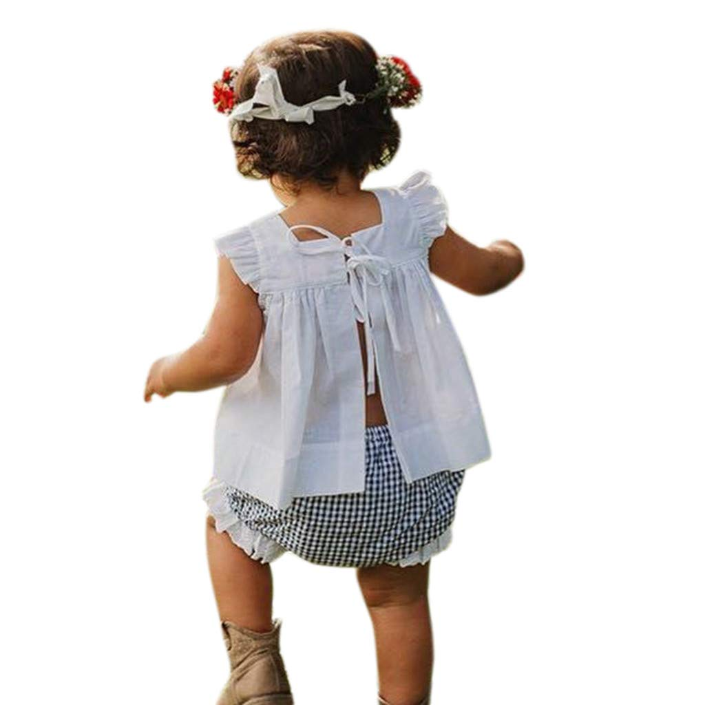 Newborn Girl Outfits,Newborn Baby Girl Summer Outfit Clothes Princess Dress+Plaid Pants Shorts Set,Baby Boys One-Piece Rompers,White,100
