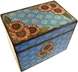 Recipe Box, Holds 4x6 Recipe Cards, Teal Sunflower, Decoupaged