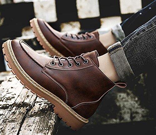 Booties Lace Toe Up Martin Mens Short IDIFU High Heel Khaki Ankle Boots Round Flat Trendy qXCOtwIx