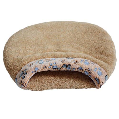 Topbeu Warm Pet Sleeping Bag Cat House Hamburger Shape Dog Cat Kennel Pet Bed (L, Camel)