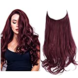SARLA Halo Hair Extension Wine Red Curly Long Synthetic Hairpiece 18 Inch 4.2 Oz Hidden Wire Headband for Women Heat Resistant Fiber No Clip(M01&118#)