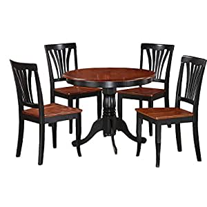 5 Piece Pedestal Dining Room Set Round Table Chairs Contemporary