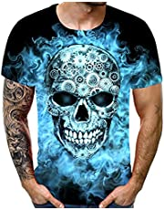 acction 3D Print Tshirt Men Funny Horror Skull 3D Print Tops Shirt Men Casual Short Sleeve T-Shirts Round Neck Shirts Tops