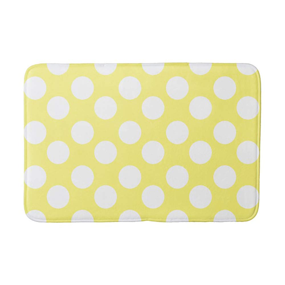 Yellow and White Large Polka Dot Bath Mat 23.6x15.7 inches