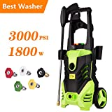 Homdox 1800W Electric High Pressure Washer, 3000 PSI 1.80 GPM Professional Electric Power Washer, Portable Cleaner Machine with 5 Interchangeable Nozzles
