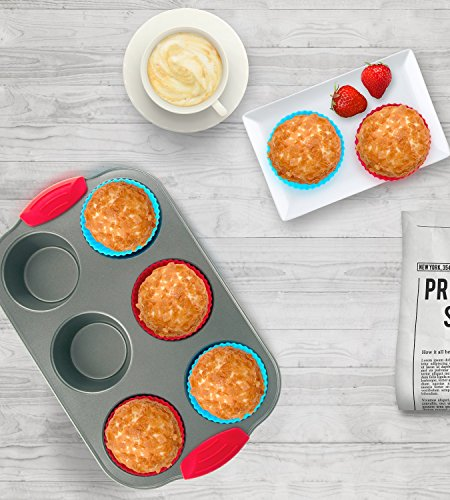 Nonstick Bakeware 6-Cup Muffin Pan with Silicone Cupcake Liners (Set of 6) by Boxiki Kitchen | Premium Nonstick Baking Muffin Tin and Muffin Cups by Boxiki Kitchen (Image #4)
