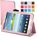 Maxboost Leather Case for Samsung Galaxy Tab 3 7.0 Inch P3200 / P3210 Pink - Book Folio Style with Built-in Stand, Wallet Card Holder, Stylus Holder, Hand Holding Strap, Memory Card Holder
