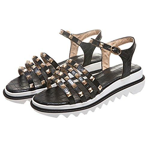 YE Damen Riemchen Flache Plateau Sandalen mit Schnalle und Nieten Bequem Schuhe qFbvm