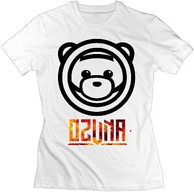 Camiseta Ozuna Bear Logo Mujer Algodón Manga Corta Blanco: Amazon ...
