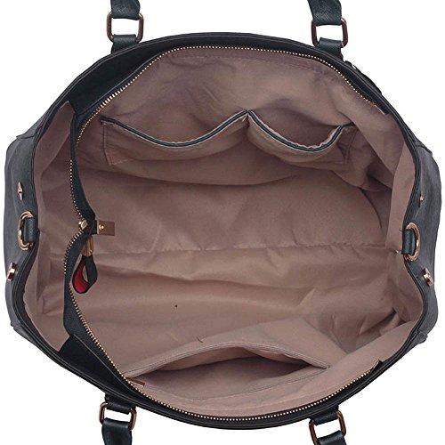 Funda de piel sintética nuevo bolso de mano para mujer moda bolso de hombro bolsas mujer grande, color morado, talla L Marina De Bolso
