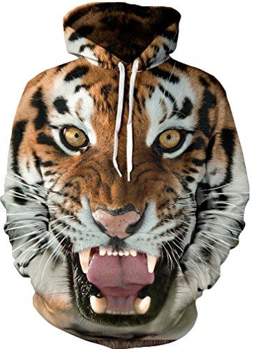 5 Tiger Lesaldy Felpe Fantasia Felpa Leone 3d Pullover yellow Lupo Cappuccio Unisex Tampa Di Con U6qwU