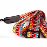 MUSIC FIRST Hawaii Woven Rainbow Adjustable 100% Cotton & Genuine Leather Ukulele Strap Shoulder Strap version 2.0