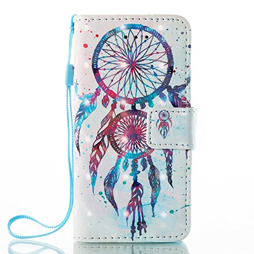 iPhone SE Case,iPhone 5S Case,iPhone 5 Case, JanCalm [Wrist Strap] [Kickstand] [3D Painted Pattern] [Card/Cash Slots] PU Leather Wallet Magnetic Flip Folio Cover + Crystal pen (Dream Catcher Pattern)