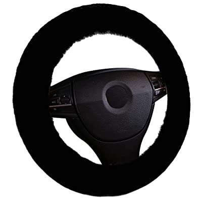 Mightyfox Genuine Natural Fur Car Steering Wheel Cover 15inch Fluffy Soft Sheepskin Fuzzy Wool Wheel Cushion Protector Universal Fit Anti-Slip Black AM01B: Automotive