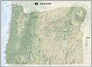 Amazoncom Oregon State Wall Map Material Laminated Map Of - Laminated state wall maps