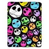 "Disney ""Nightmare Before Christmas, Glow Skulls"" Micro Raschel Throw, 46 by 60-Inch"