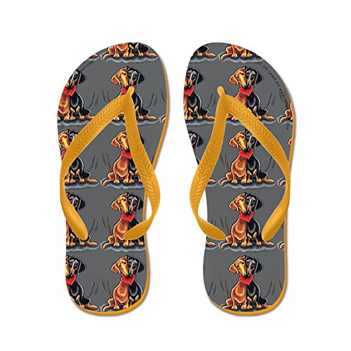 Cafepress Happy Dachshunds Grey - Chanclas, Sandalias Thong Divertidas, Sandalias De Playa Naranja