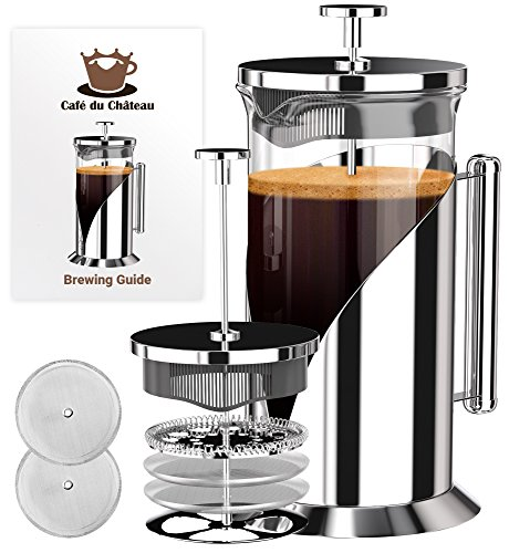 French Press Coffee Maker (8 cup, 34 oz) With 4 Level Filtration System, 304 Grade Stainless Steel, Heat Resistant Borosilicate Glass by Cafe Du Chateau (Back Glass Push)