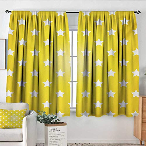 "Mozenou Yellow Custom Curtains Bursting Vibrant Hanging Stars Fun Retro Kids with Graphic Design Artistic Print Patterned Drape for Glass Door 72"" W x 45"" L White Yellow"