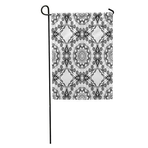(Semtomn Garden Flag Black and White Tribal Boho Folk Floral Ukrainian Balkan Caucasian Home Yard Decor Barnner Outdoor Stand 12x18 Inches Flag)